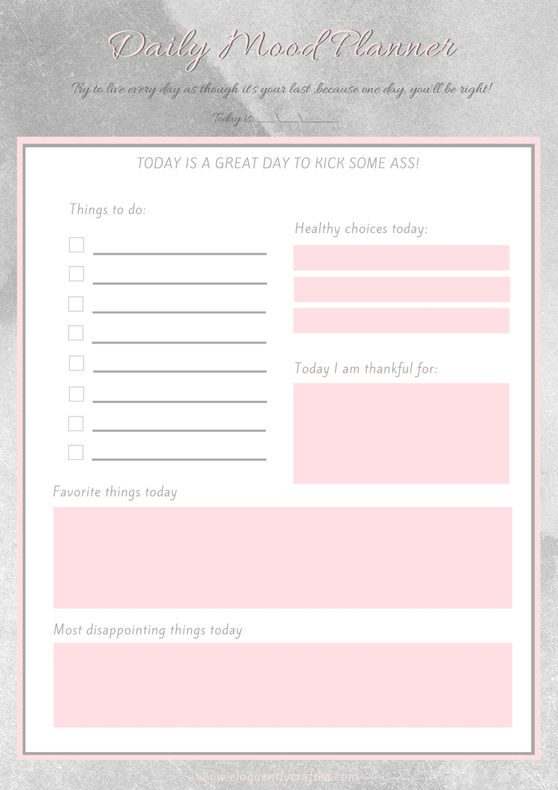 My Daily To-Do List and Mood Planner Worksheet