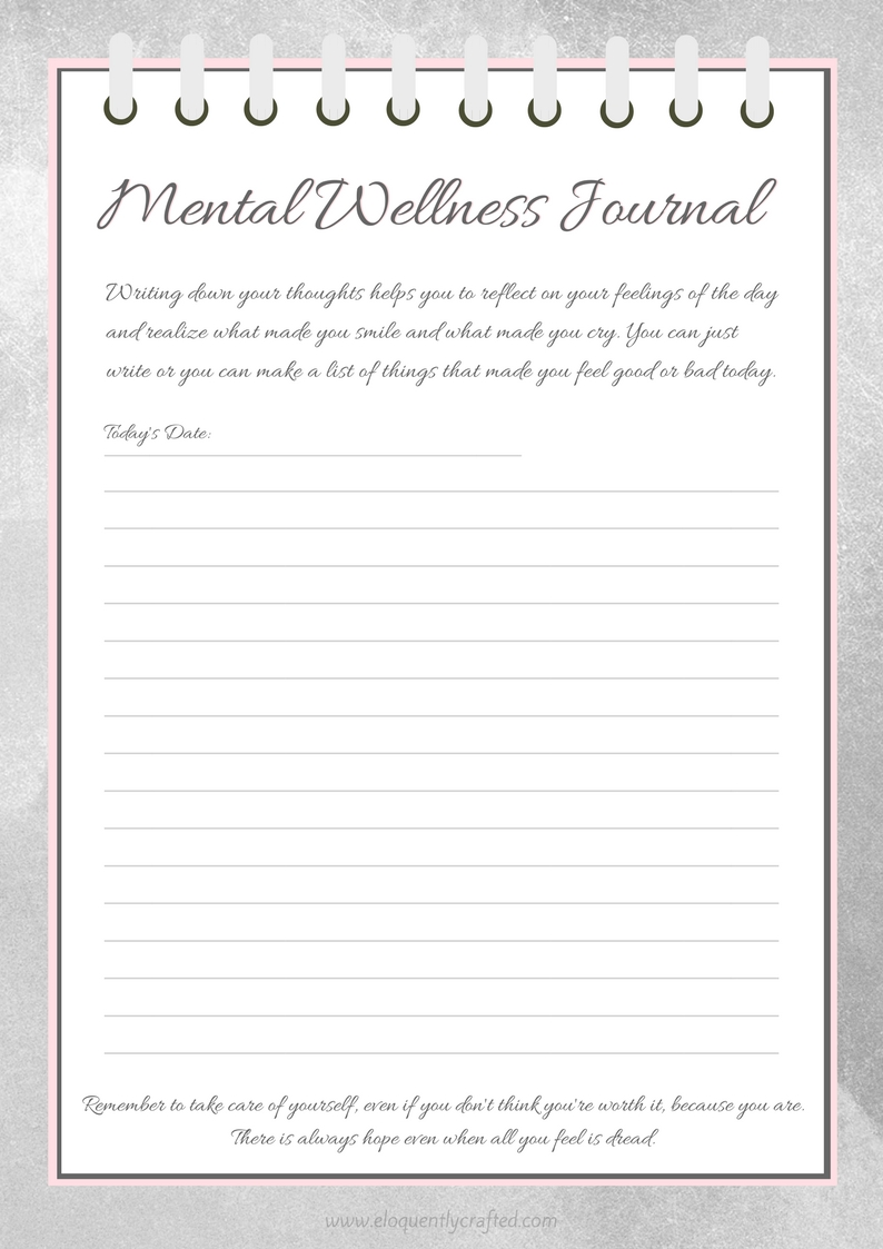My Mental Health Writing Worksheet